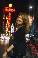 China Town (tylerkingphotography) Tags: street city travel portrait people signs girl smile lady night shopping lens thailand photography lights evening student nikon southeastasia neon chinatown photographer traffic outdoor bangkok young streetphotography kingdom business explore backpacking thai shops billboards kit 1855mm traveling amateur yaowaratroad d3100