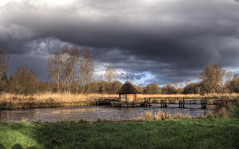 The Bunny, Hampshire (neilalderney123) Tags: water rain clouds river landscape fishing hampshire omd rivertest eeltraps omdem5mk2 2016neilhoward