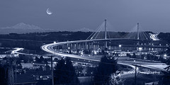 Port Mann Bridge (PhotoDG) Tags: portmann bridge structure infrastucture transportation highway transcanada highway1 gateway project vancouver metrovancouver surrey coquitlam moon mtbaker light vehicale trail lighttrail blackandwhite cityscape landscape panorama telephoto fraserheight cablestayed construction tch portmannbridge