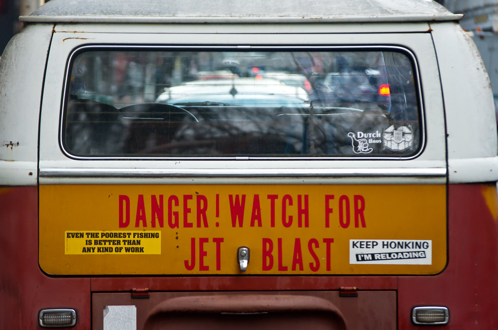 Vw bus jet blast orbmiser tags winter oregon portland nikon funny humor bumperstickers