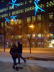 walk (Ian Muttoo) Tags: street snow toronto ontario canada reflection reflections frost gimp bceplace snowfall ufraw allenlambertgalleria brookfieldplace studiofminus snowfallfrost dsc52481edit