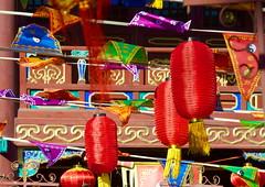 Fire God temple Beijing - Spring Festival colours (Bruce in Beijing) Tags: history temple religion beijing culture traditions flags daoist taoist springfestival clour shichahai redlanterns qianhai xicheng templearchitecture jaderiver firegodtemple huodezhenjuntemple