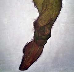 Schiele, Seated Male Nude (Self-Portrait), detail with leg