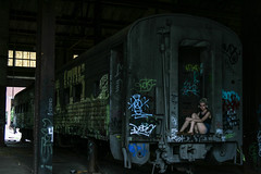 The Graffiti Train (Wes Reder) Tags: atlanta abandoned girl train dark urbex