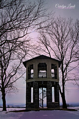 Indian Tower at Sunset (socalgal_64) Tags: trees winter sunset sky tower history nature cemetery graveyard weather landscape pennsylvania snowy landmark historic pa historical blizzard lehighvalley nazareth indiantower carolynlandi