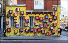 East End Street Art (Mabacam) Tags: streetart london wall graffiti stencil mural letters wallart urbanart shoreditch freehand publicart alphabet aerosolart spraycanart stencilling eastend eine letterforms blockbusters 2016 straights urbanwall