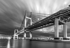 Yokohama Bay Bridge (muuu34) Tags: ocean bridge sky white black reflection monochrome japan architecture clouds landscape bay long exposure angle wide smooth dramatic yokohama bandw  kanagawa     silky      daikokufuto
