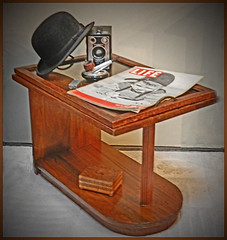 1937 ART DECO SIDE TABLE, LIFE MAGAZINE, STILLLIFE (strandviewphotos) Tags: bowlerhat 1937 sidetable may1937lifemagazinecover brownietargetdecocamera