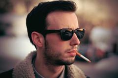 Untitled (yo_cali) Tags: portrait people male matt glasses nikon friend bokeh cigarette smoke higgins smoker raybans