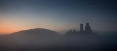 Above the Mist (steveS999) Tags: moon mist castle sunrise dawn dorset corfe purbeck