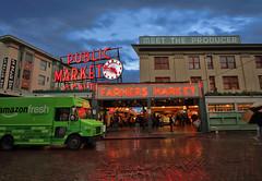 public market center (toadcut) Tags: seattle fish rain clouds canon washington amazon center 7d fishmarket publicmarket