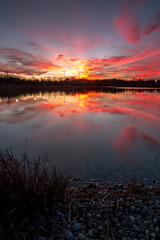 RED SUNSET (Regus22) Tags: light sunset red sky reflection water clouds canon germany landscape bavaria eos lights heaven sonnenuntergang l usm magical landschaft ef 1740mm unterhaching 1470