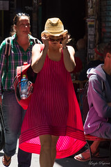 (Laszlo Papinot) Tags: girl woman lady red hat strawhat centreplace melbourne