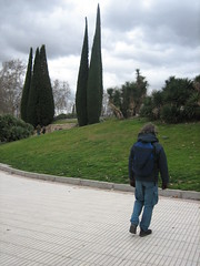 a pair of cypresses (Ladybadtiming) Tags: madrid trees sky clouds grey spain walk espana cypresses debod