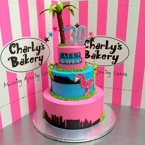 Miami Vice Themed 3 Tier 30th Birthday Cake With Skyline Flamingo Table Mountain