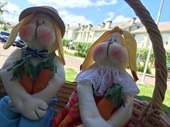 Casal de coelhos (Pina & Ju) Tags: bunny cores easter boneco handmade chocolate artesanato plush pscoa feltro patchwork coelho decorao tecido enfeite conejos cenoura