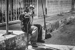 Sweeper (* El Arte del Cisne (art*swan )) Tags: street blackandwhite oldman tijuana streetsweeper sweeper