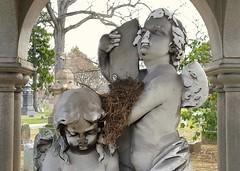 The Nest (KaDeWeGirl) Tags: newyorkcity sculpture cemetery grave birds statue nest bronx woodlawn