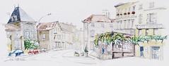 Melle, la Grande rue (Croctoo) Tags: village aquarelle croquis poitou melle cafédessports lesglycines croctoo croctoofr demeure1823
