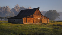 Shed a little Light on the Subject (Irwin Scott) Tags: morning barn landscape western wyoming grandtetons touristattraction mormonrow moultonbarn nearjacksonhole iconicbarn