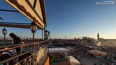 View across the Djemaa el Fna (dieLeuchtturms) Tags: sunset sonnenuntergang morocco maroc marrakech medina afrika marrakesh marokko jemaaelfna 16x9 marrakesch djemaaelfna djemaaelfnaa marrakechtensiftalhaouz platzdergehngten