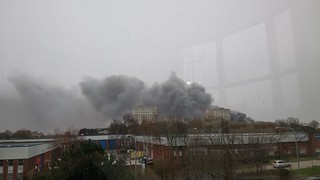 Fire at a recycling plant in Saltley - seen from Dartmouth Middleway