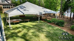 Our Clients Are Staying Dry This Weekend. A Tent is the Best Insurance for your Outdoor Event as NC Weather can be unpredictable. #venueservices #tent #tents #weddingtent #outdoortent #weddingreception #nc #highrocklake #eventrental #eventrentals #dancefl (Venue Services) Tags: wedding party corporate tents nc place chairs rental event tables plus salisbury venue services linens rentals settting instagram