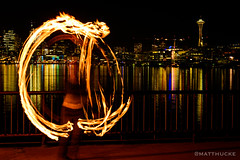 Fire and Needle (matthucke) Tags: seattle fire firespinning firedancing spaceneedle gasworkspark