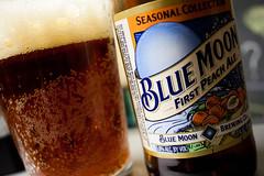 Blue Moon, First Peach (Jules (Instagram = @photo_vamp)) Tags: beer glass bottle cheers bluemoon beerisgood drinkmorebeer firstpeach