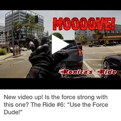 "The Ride #6: ""Use the Force Dude!"" (ronica's ride) Tags: travel square traffic lifestyle dude hollywood squareformat motorcycle biker redlight usetheforce motochick iphoneography instagramapp motocouple"