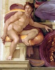Ignudo above Cumaean Sibyl (restored), Sistine Chapel, Vatican City, c. 1512 // by Michelangelo (mike catalonian) Tags: portrait italy painting fulllength michelangelo fresco sistinechapel highrenaissance 1510s 1512 malr
