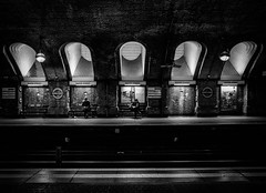 Baker Street Underground London by Simon & His Camera (Simon & His Camera) Tags: city people urban blackandwhite bw black london monochrome lines architecture contrast bench underground lights arch tube tunnel indoor iconic simonandhiscamera