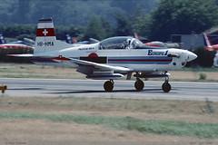 "PC7 ""Patrouille Martini"" HB-HMA 519 Sion juin 1989 (paulschaller67) Tags: juin 1989 sion 519 pc7 patrouillemartini hbhma"