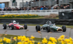 A pair of Brabham-Ford BT28s cross the line (Jez B) Tags: auto ford car sport race meeting racing historic motor circuit 74 goodwood members motorsport brabham 74th brabhamford 74mm bt28