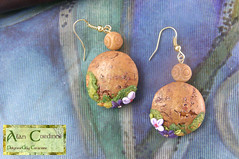 Bark Earrings with woodland flowers. (Polymer Clay Delights) Tags: diy handmade unique oneofakind ooak polymerclay handcrafted wildflowers handsculpted flowerearrings polymerclayjewellery polymerclayearrings naturejewellery flowerjewellery