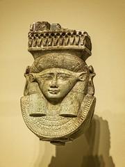 Head of the goddess Hathor rom the handle of a votive sistrum Egypt Late Period 26th Dynasty 664-525 BCE Faience (mharrsch) Tags: seattle faience washington ancient worship religion goddess egypt 6thcenturybce 26thdynasty 7thcenturybce myth deity seattleartmuseum hathor sistrum lateperiod mharrsch