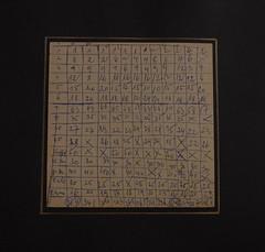 Arbeit  30 (Harald Reichmann) Tags: code linie papier muster raster karton rtsel buchstaben geheimnis rechnung strich rckseite dokumentation verteilung zahl verlauf zielscheibe mglichkeit arbeit30