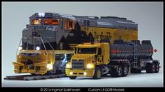 Mack Vision with Tanker Trailer & EMD SD70 Ace Locomotive 2 (2LegoOrNot2Lego) Tags: suspension ace locomotive mack servo exhaust peterbilt 18wheeler kenworth bigrig freightliner emd westernstar fifthwheel sd70 6x4 mp8 solidaxle ustruck bricksonwheels cx613 cx612 slidercxn613