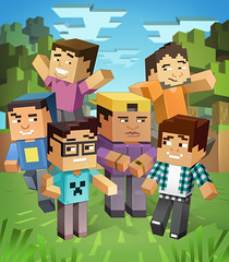 MINECRAFT GAME YOUTUBERS - FINAL (Works by Issao Bazolli) Tags: colour art illustration digital gamers vetor gamming youtube illustrao youtubers minecraft