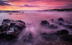 Dawn Light (ScottSimPhotography) Tags: longexposure morning travel winter red sea panorama sun seascape beach nature clouds sunrise landscape dawn coast rocks aberdeenshire natural sony east northsea redsky 12mm cowie stonehaven visitscotland rokinon a6000