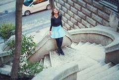 Commando Stairs With Mehtap (easyphotography) Tags: blue black girl canon turkey turkiye istanbul adobe mavi bosphorus lightroom galata karaköy boğaz mercan mehtap siyah merdiven skrit komandomerdivenleri