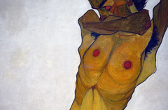 Schiele, Seated Male Nude (Self-Portrait), torso detail