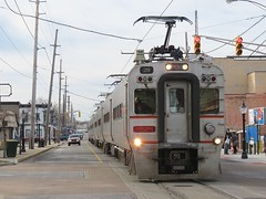 South Shore Line (codeeightythree) Tags: electric south shoreline indiana interurban southshore nictd 11thstreet michigancity passengertrain panograph michigancityindiana streetrunning southshorerailroad passengerservice