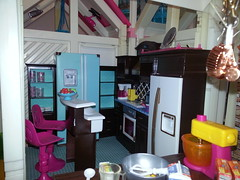 Kitchen (moonpiedumplin) Tags: food house scale kitchen yellow cake breakfast bar yard vintage fun island star backyard doll pretty cabinet furniture ooak cottage dream barbie gloria 80s frame dining 16 refrigerator custom stools pastries bake nook mattel littles 1976 diorama treasures curio redo tyco fixin repaint