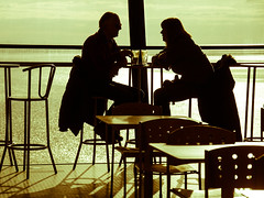 Sunday Afternoon, Enjoying A Latte By The Sea.. (Philip R Jones) Tags: shadow england coffee silhouette table couple shadows britain candid conversation latte southport southportpier skinnylatte silhouettedbythesea