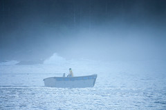 Tethered (JJ Photog) Tags: ocean blue mist man tree yellow fog alaska forest person pacific northwest wave rope jacket shore land fir ripples southeast skiff pnw
