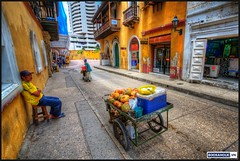 Cartagena, Colombia (bookaholicvn) Tags: street city people urban buildings colombia cartagena hdr streetvendor 2010 photomatix freakydeail