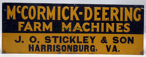 J.O. STICKLEY & SON tin lithographed McCormick-Deering sign $852.50 - 4/11/14
