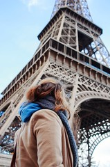 La Tour Eiffel (nifty-fifty) Tags: city portrait sky paris france girl face scarf frankreich pretty outdoor eiffeltower eiffelturm