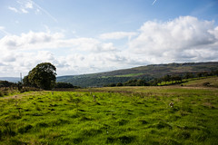 Green land of Wales (Melvinia_) Tags: uk blue panorama green nature southwales wales clouds landscape unitedkingdom cymru vert bleu ciel fields nuage paysage danyrogof coelbren canoneos450d digitalrebelxsi